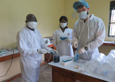 Testing gorilla, human and livestock samples for bacteria at the Gorilla Health Centre working with Veterinary students